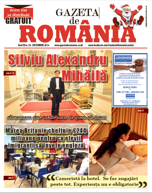 Gazeta de Romania 30 December 2014 front cover