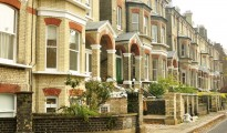 A row of modern urban houses in London England architecture