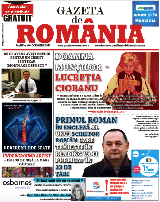Gazeta de Romania 40 octombrie 2015 cover